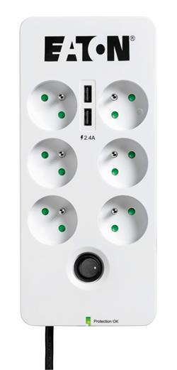 EATON Protection Box 6 USB FR, přepěťová ochrana, 6 výstupů, zatížení 10A, 2x USB port